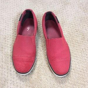 Puma red slip on shoes